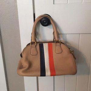 J. Crew leather tri-color detail handbag